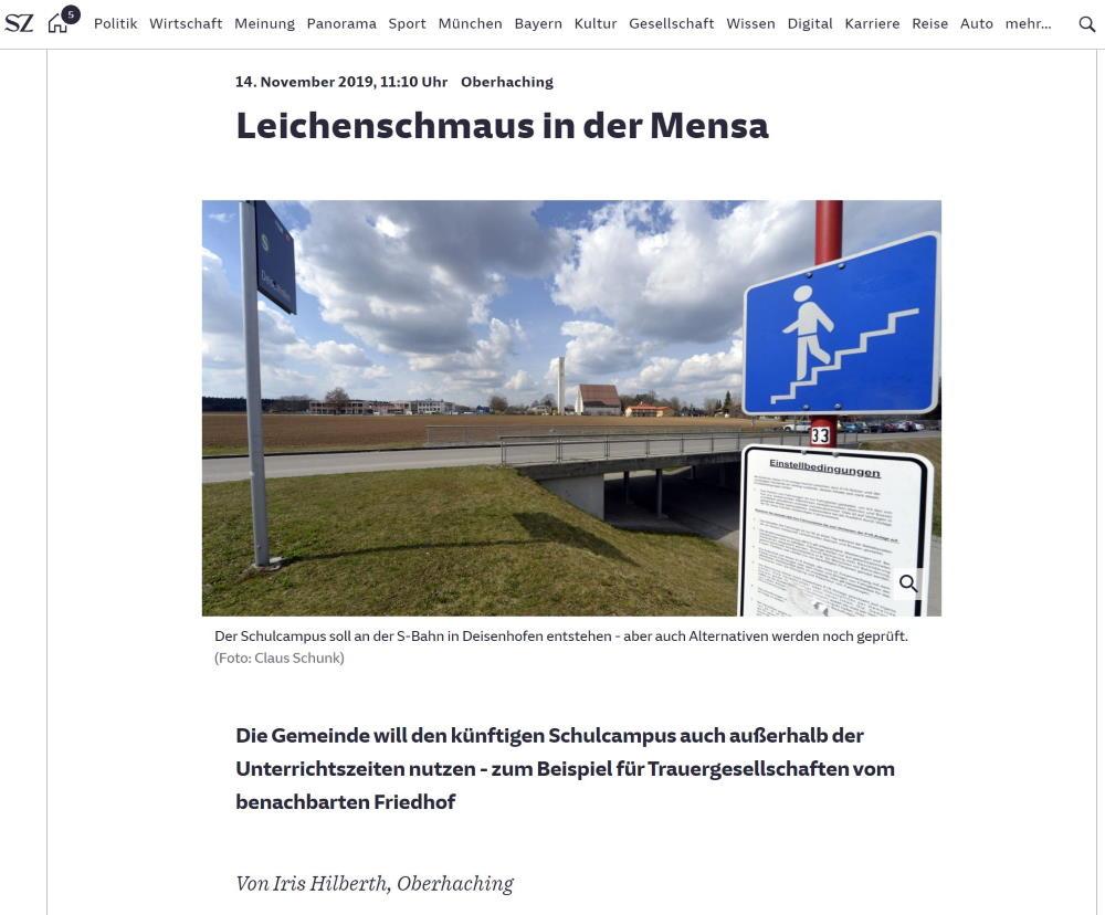 Leichenschmaus im Schulcampus Deisenhofen